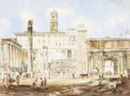 Marchi, Vincenzo - View of Roman Forum, 1850s