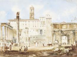 Marchi, Vincenzo - A római Forum látképe, 1850-es évek