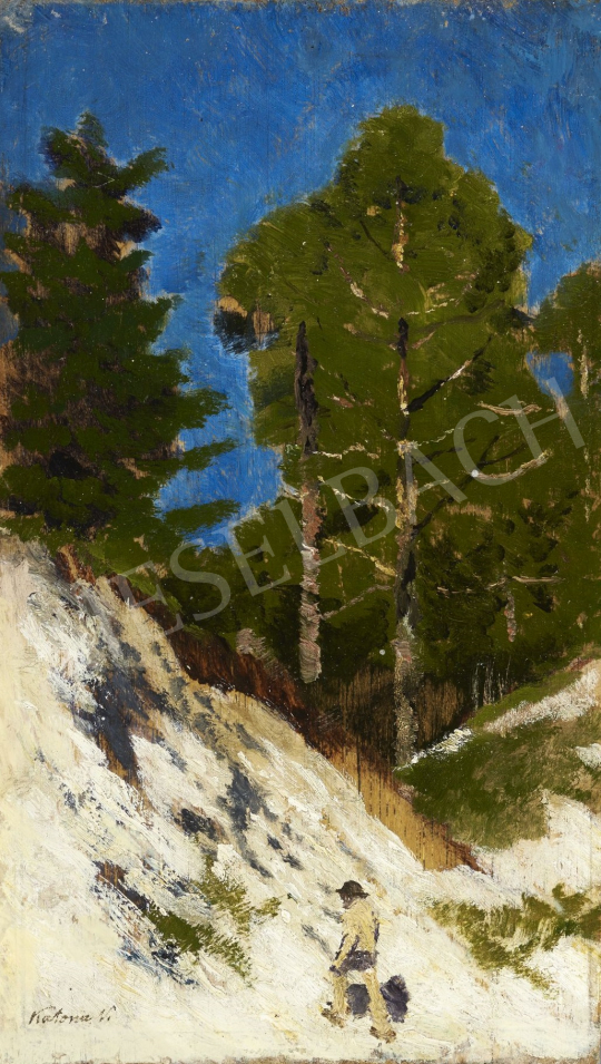 Katona Nándor - Meredek hegyoldalon fölfelé haladó festménye