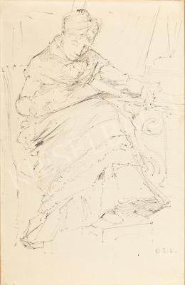 Deák-Ébner Lajos - Karosszékben olvasó nő