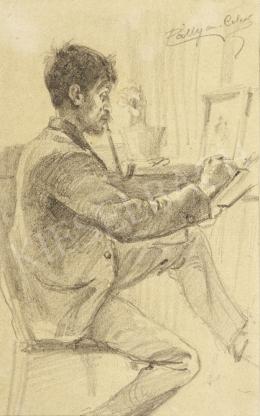 Pállya Celesztin - Pipázva rajzoló férfi