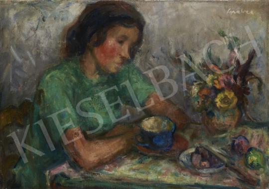 Gráber Margit - Lány reggelizőasztalnál festménye