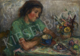 Gráber Margit - Lány reggelizőasztalnál