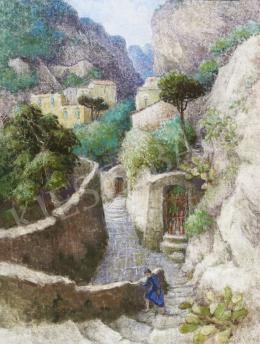 Kapicz Margit - Hegyi falu lépcsőin haladó nő