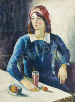 Ismeretlen festő - Kék ruhás nő asztalnál