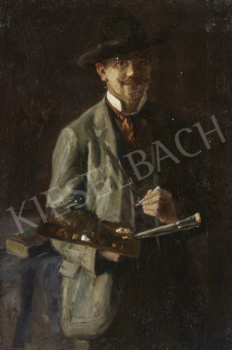 Börtsök, Samu - Self-Portrait with a Palette, c. 1910