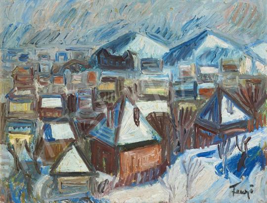 Fenyő Andor - Falu télen festménye
