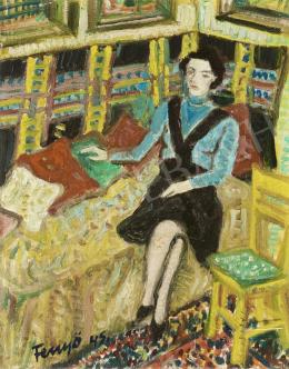 Fenyő Andor - Ágyon ülő fiatal nő, 1945