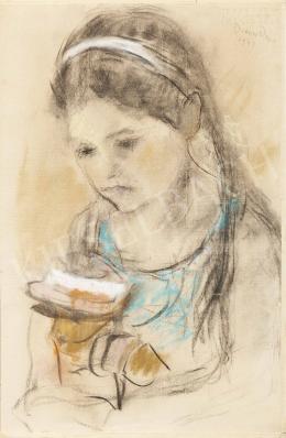 Diener-Dénes Rudolf - Kislány virággal, 1941