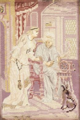 Ismeretlen művész - Rokkán fonó öreg hölgy és fiatal dáma egy várkastély szobájában