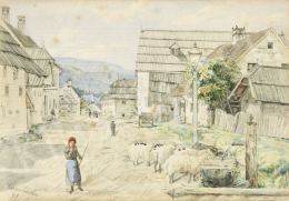 Ismeretlen művész - Birkákat terelő kislány a faluban, 1881