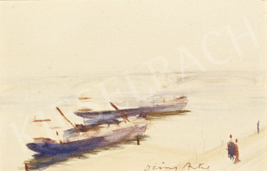 Diósy, Antal (Dióssy Antal) - Barges on Danube painting