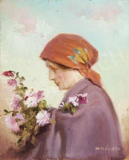 M. Németh jelzéssel - Piros fejkendős lány virágcsokorral