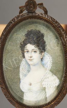 Ismeretlen művész - Barna hajú hölgy miniatűr-portréja