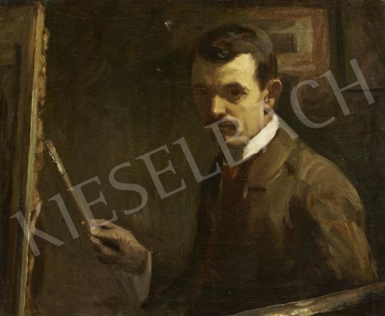 Nyilasy Sándor - Önarckép festőállvánnyal festménye