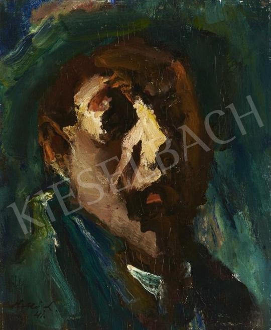 Holló László - Önarckép-tanulmány, 1941 festménye