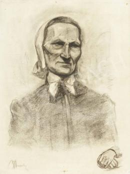 Ismeretlen művész - Fökötős öregasszony tanulmányrajza