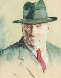 Kássa Gábor - Kalapos önarckép, 1940