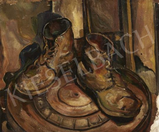 Medgyesy Miklós - Száradó bakancsok festménye