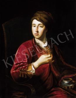 Barabás Miklós - 18. századi előkép (Jan Kupezky) után) Szőrmesapkás férfi kávéscsészével