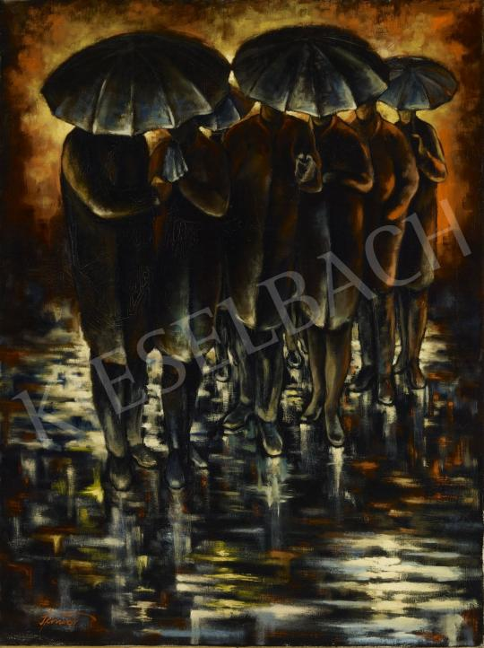 For sale  Schwer, Lajos - With Umbrellas 's painting