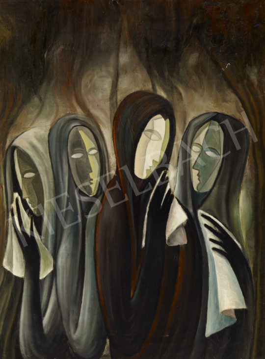 For sale  Schwer, Lajos - Four Women (Lamentation) 's painting