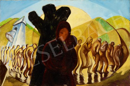 Eladó  Schwer Lajos - Menetelés, Auschwitz festménye