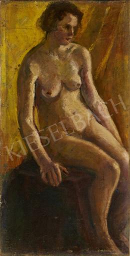 Ismeretlen festő - Ülő akt háttérben sárga drapériával