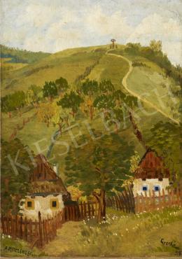 Ismeretlen festő - Házikók a domboldalon (Alsó-Metzenzef), 1918