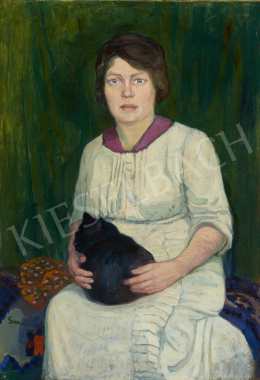 Gremsperger Ernő - Nő fekete macskával, 1914