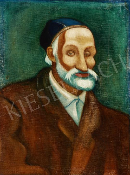 Eladó  Remsey Jenő György - Nagyapó barna zakóban, hátoldalon: Virágcsendélet festménye