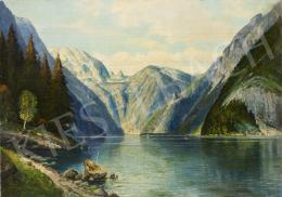 Ismeretlen festő Blaetter jelzéssel, 20. század első fele - Hegyekkel övezett tó