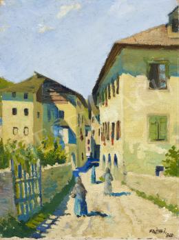 Ismeretlen festő Fajka J. jelzéssel - Nyár a kisvárosban, 1918