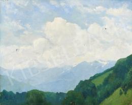 Ismeretlen osztrák festő Kaufmann jelzéssel, 20. század második harmada - Kilátás a hegyekre