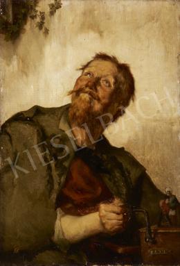 Ismeretlen festő olvashatatlan jelzéssel, 19. század vége - Férfi zenedobozzal (Kintornás)