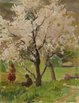 Ismeretlen festő, 20. század második harmada - Gyerekek virágzó fa alatt