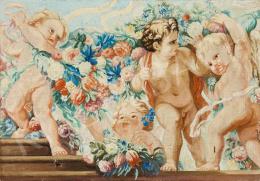 Ismeretlen festő, 20. század második harmada - Virágok és puttók
