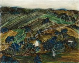 Ismeretlen festő, 20. század második harmada - Domboldal házakkal