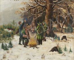 Ismeretlen festő, 20. század második harmada - Melegedő vadászok háttérben osonó rókával