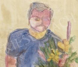 Ismeretlen festő, 20. század harmadik harmada - Férfi virágcsokorral