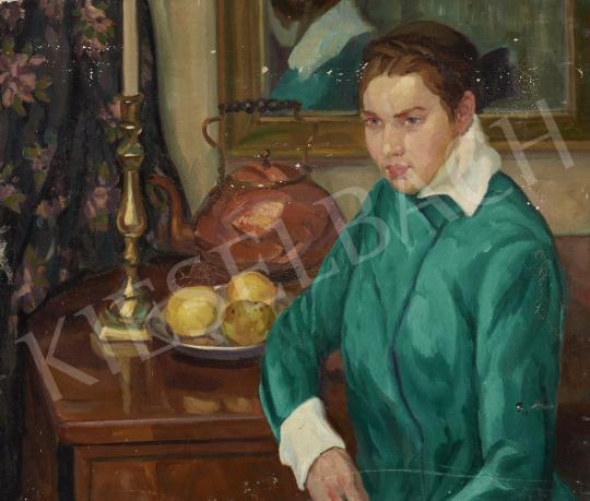 Ismeretlen magyar festő, 20. század első harmada - Zöldruhás nő festménye