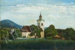 Ismeretlen magyar festő, 20. század első harmada - Tájkép templomtornyokkal
