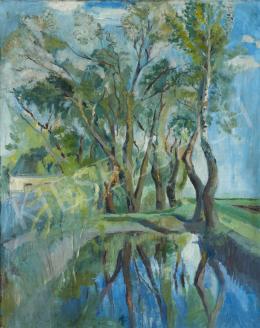 Ismeretlen magyar festő, 20. század második harmada - Tó tükröződő fákkal
