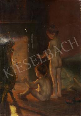 Ismeretlen magyar festő, 20. század második harmada - Tűznél melegedő gyermekek