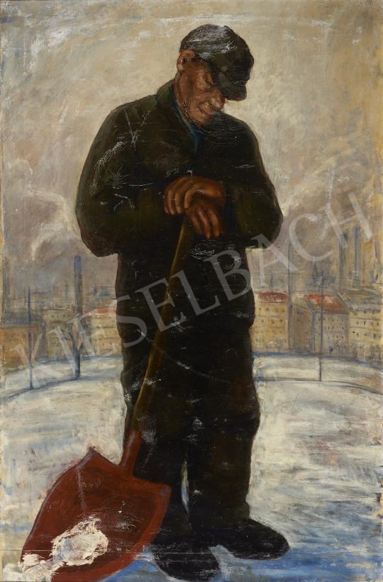 Eladó  Ismeretlen magyar festő, 20. század második harmada - A hómunkás festménye