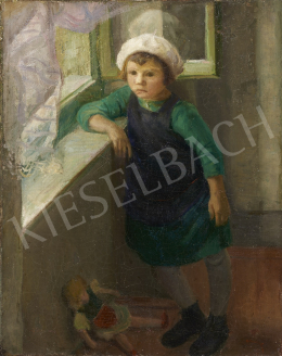Unknown Hungarian painter with an unreadable sign, middle of the 20th - Girl Elbowing in the Window
