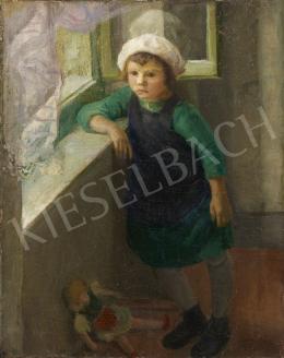 Ismeretlen magyar festő olvashatatlan jelzéssel, 20. század közepe - Ablakban könyöklő kislány