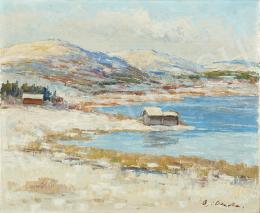 Ismeretlen festő olvashatatlan jelzéssel, 20. század második harmada - Téli tópart