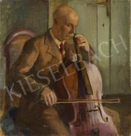 Ismeretlen festő olvashatatlan jelzéssel, 20. század második harmada - Csellózó férfi