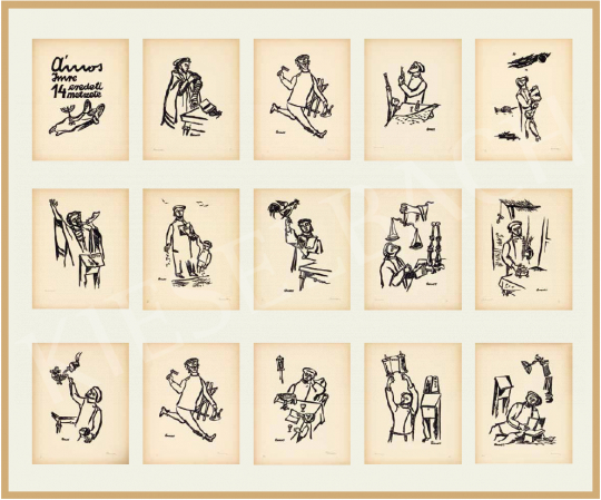 Ámos, Imre - Jewish Feasts, 1940 (14 original linocuts by Imre Ámos) | 54th Winter auction auction / 3 Item